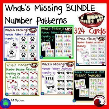 I use these as a Math Center Activity. These activity cards involve completing number patterns by counting using different numbers. Filling in missing numbers in given patterns, in both ascending and descending order. Each set has 54 activity cards with a