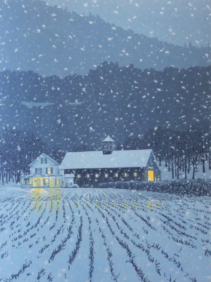 """""""First Snow"""" by William Hays, 7 color linocut print"""