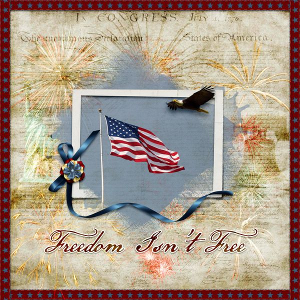 Freedom isn't free by Betsyfru. Kits: Stars and Stripes by Myst Designs http://scrapbird.com/designers-c-73/k-m-c-73_516/myst-designs-c-73_516_557/stars-and-stripes-p-16527.html And Masked Frames Set 1 by Nutkin Tailz Designs http://scrapbird.com/designers-c-73/n-z-c-73_517/nutkintailz-designs-c-73_517_569/mask-frames-set-1-p-18047.html