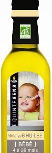 Mélange d'huiles biologiques adaptées au bébé de 4 mois à 3 ans par Quintesens   – Bébé
