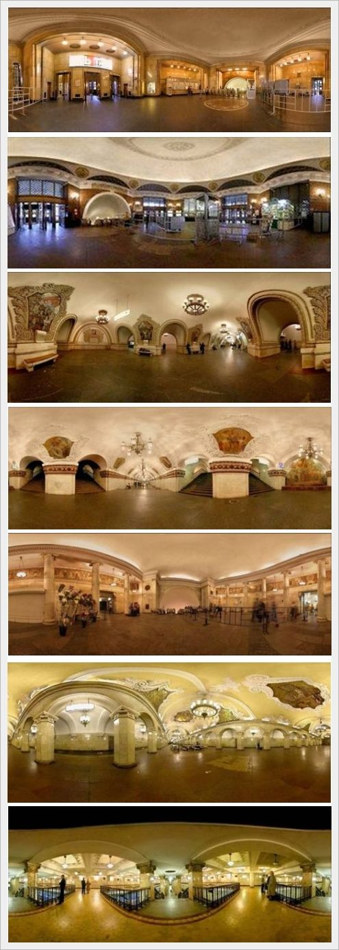 Russian, Moscow metro stations You have not seen a beautiful subway until you see those in Moscow. They are full of classical art and historical sculptures and images. Seen it in 2007?