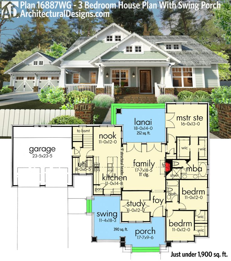 plan 16887wg 3 bedroom house plan with swing porch one level - One Level House Plans
