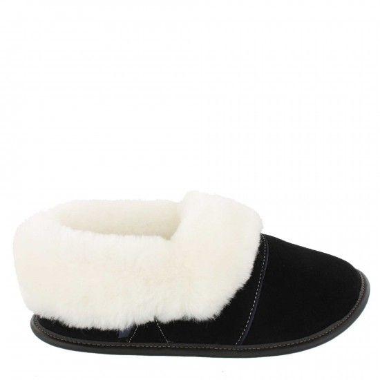 Pantoufle mouton et suède-Woman-medium-Pitch black-White Sheepskin
