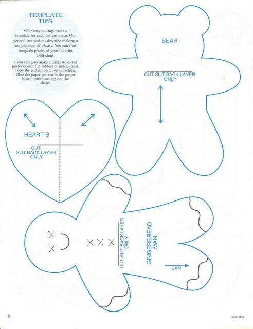 christmas ornaments templates, gingerbread man, bear and heart