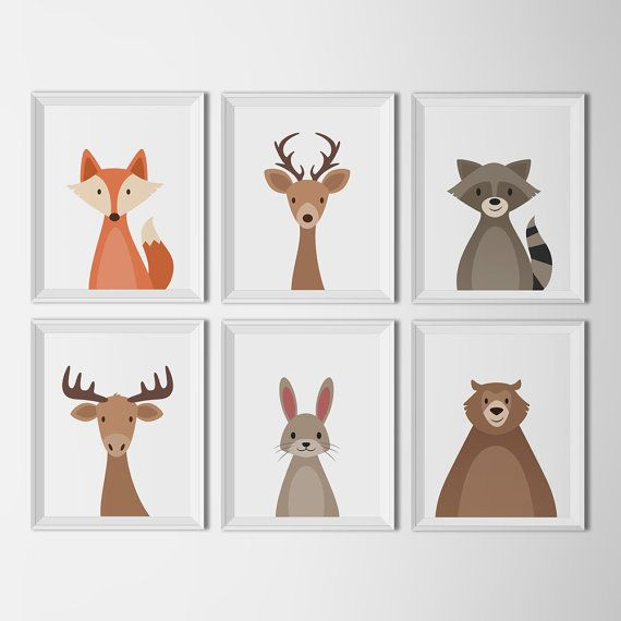 Woodland Animal set white background art by HappyFoxDesign on Etsy