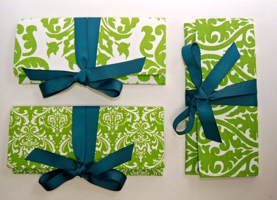 Shoply.com -Bridesmaids Clutches in Apple Green Prints with Teal Ribbon. Only $140.00