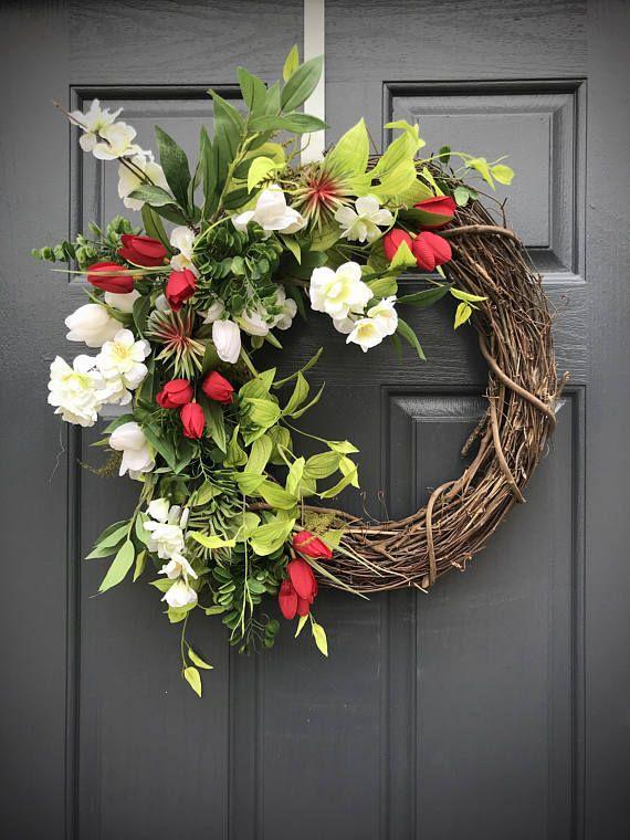 Spring Wreath Front Door Wreath Red White Green Red White Wreath