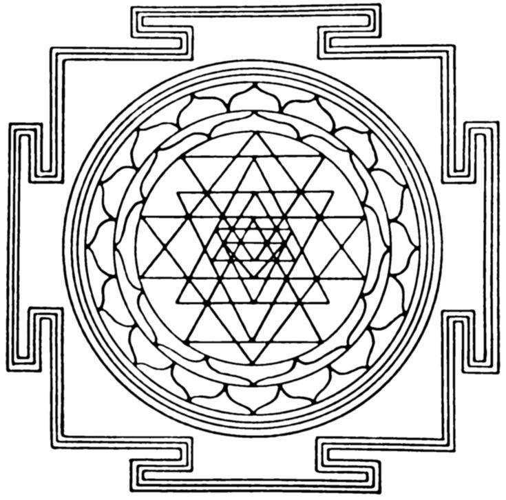 Shri Yantra Représentation de Shri Chakras partout en Inde. Les chakras s'emboitent les uns dans les autres.  il symbolise la totalité de l'univers