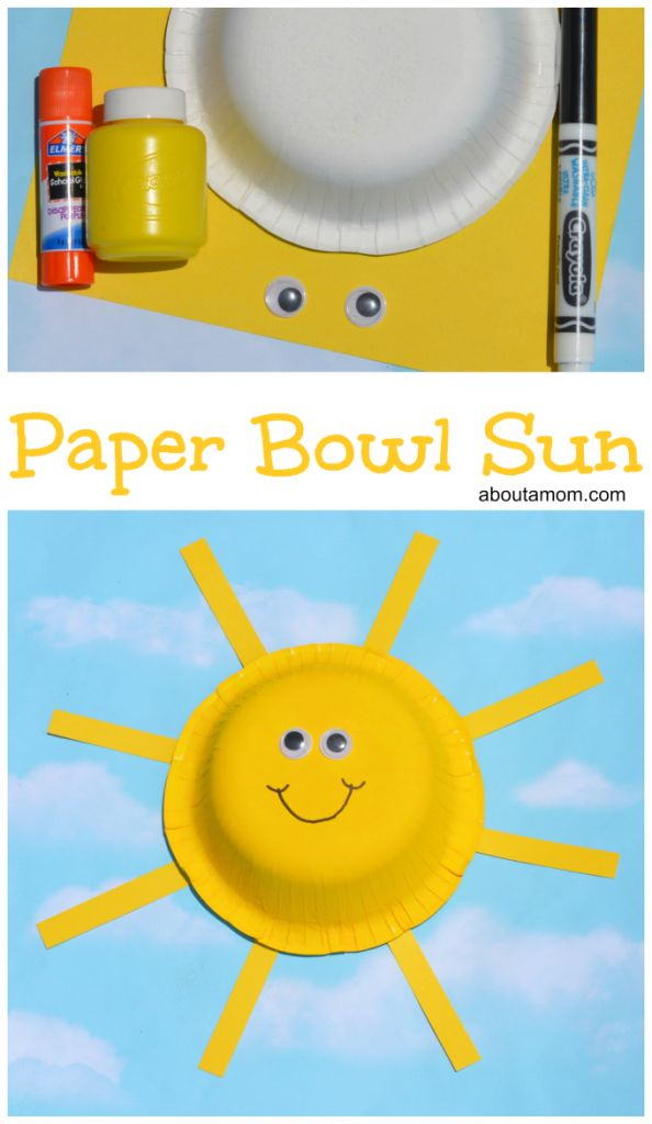 This paper bowl sun craft is a easy and fun summer themed craft for kids.