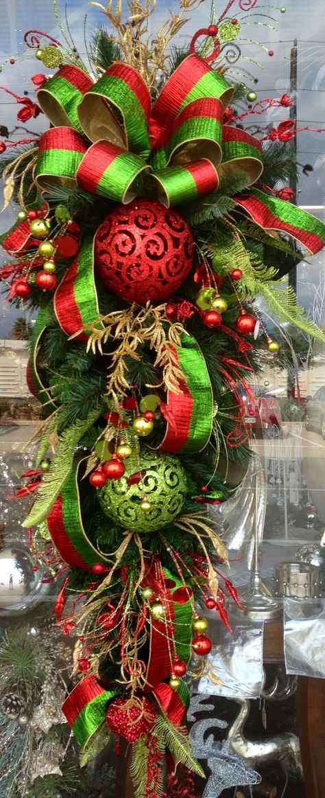 Red gold and green Christmas Teardrop