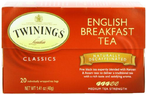 Twinings English Breakfast Tea, Decaffeinated, Tea Bags, 20-Count Boxes (Pack of 6) - http://teacoffeestore.com/twinings-english-breakfast-tea-decaffeinated-tea-bags-20-count-boxes-pack-of-6/