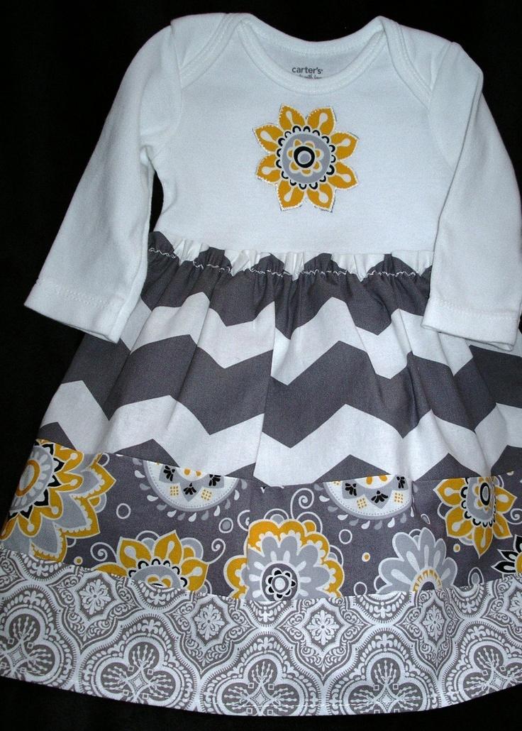 Gray Chevron Long-sleeve Onsie Dress 3 mo. $24.00, via Etsy.