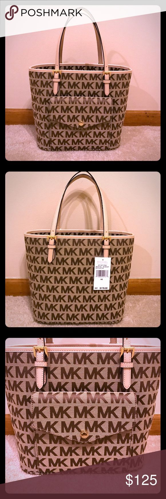 NWT - Michael Kors Medium Sized 👜 Michael Kors - Brand New - Never Used - Tags Attached- Does Not Have MK Charm, I think my niece took it off - Colors: Beige/Buff/Dk Beige  Exterior: 1 Front Magnetic Flip Snap Pocket with 3 Credit Card Slots inside Interior: 1 Big Back Zipper Pocket with 2 Slip Pockets (one for cell phone), Large Center Zip Compartment  Double top handles Gold-tone hardware Michael Kors Bags Totes
