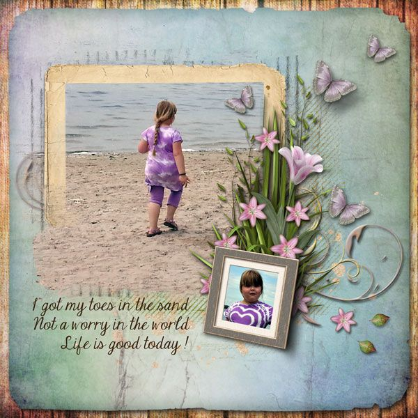 Toes in the Sand by Janet. Kits by Lora Speiser: Blooms Heres 1 & 2 http://scrapbird.com/designers-c-73/k-m-c-73_516/lora-speiser-c-73_516_512/love-blooms-here-page-kit-p-15943.html AND http://scrapbird.com/designers-c-73/k-m-c-73_516/lora-speiser-c-73_516_512/love-blooms-here-too-page-kit-p-15944.html