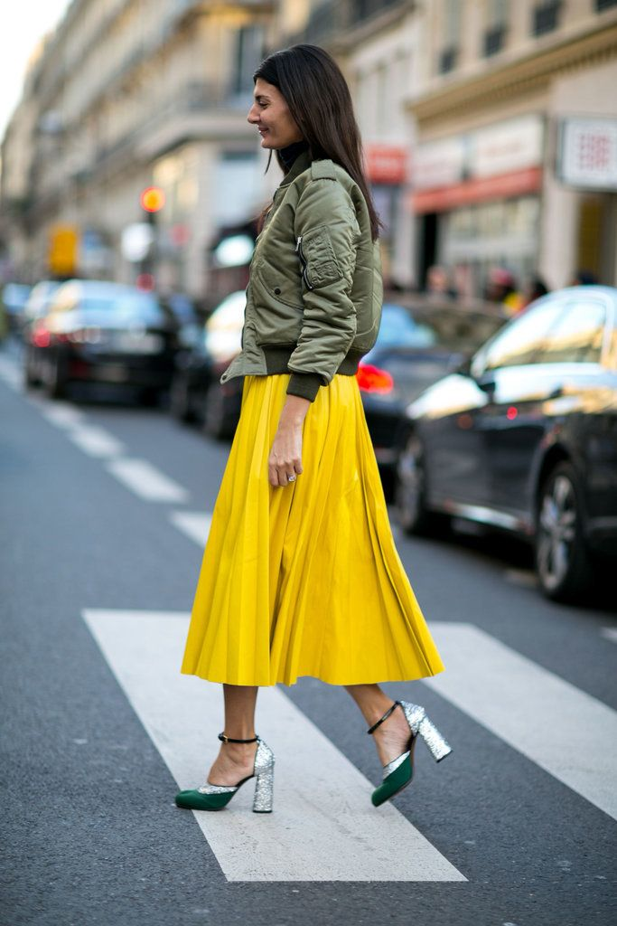 Dress down a full skirt with a bomber jacket.