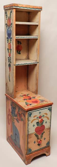 Peter Hunt Decorated Petite Book Shelf, over two drawers H 58 in. W 12.5 in. D 18.5 in.