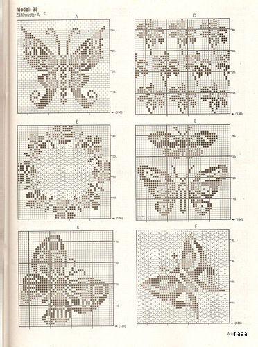Вязание филейное схемы цветы