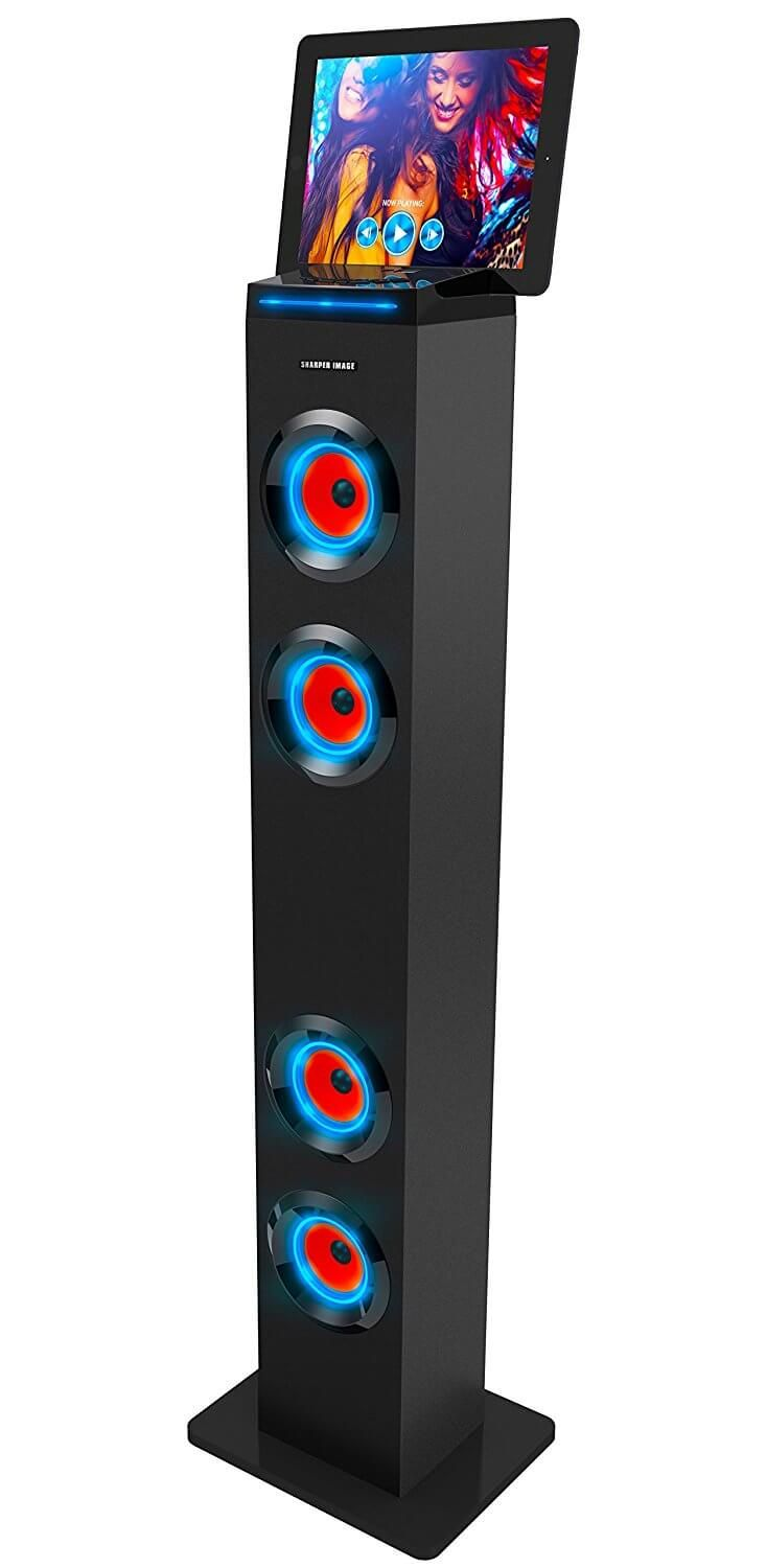 Sharper Image Sbt1001bk Bluetooth Tower Speaker With Lights Best