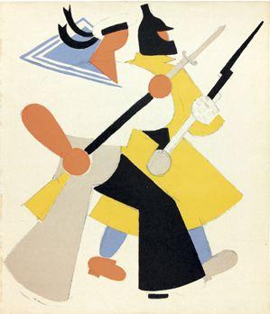 Illustration by Vladimir Lebedev (1891-1967), 1920, The Russian fleet defending the borders of Russia, Merrill C. Collection Berman.