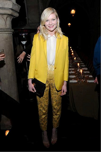 Stella McCartney, jacket, kirsten dunst, yellow, suit, white, shirt, black, clutch, metallic, jacquard, pants, rodarte
