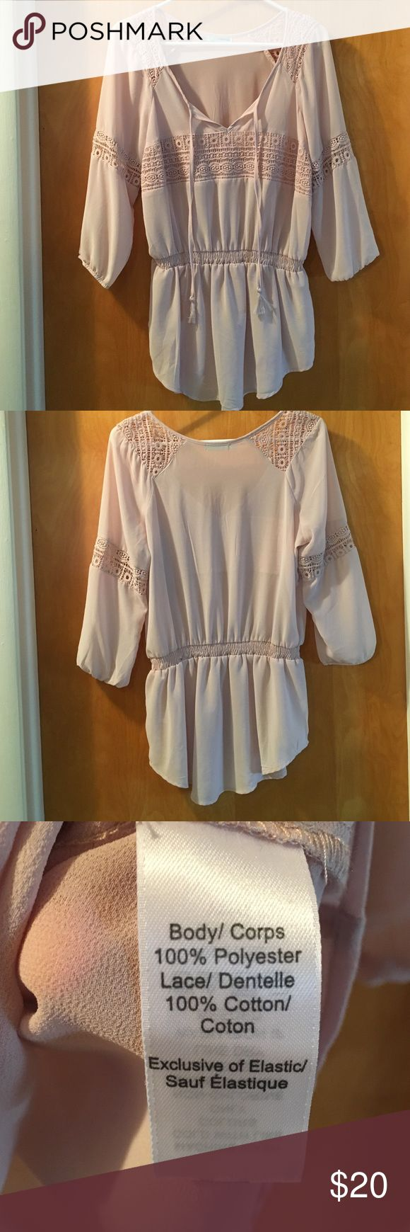 Women's Maurices bohemian blouse Women's pale mauve cinch waist blouse with v-neck and two hanging ties (with tassels ) in front. Beautiful crochet design across the front chest, both shoulders, and both sleeves. Maurices Tops Blouses