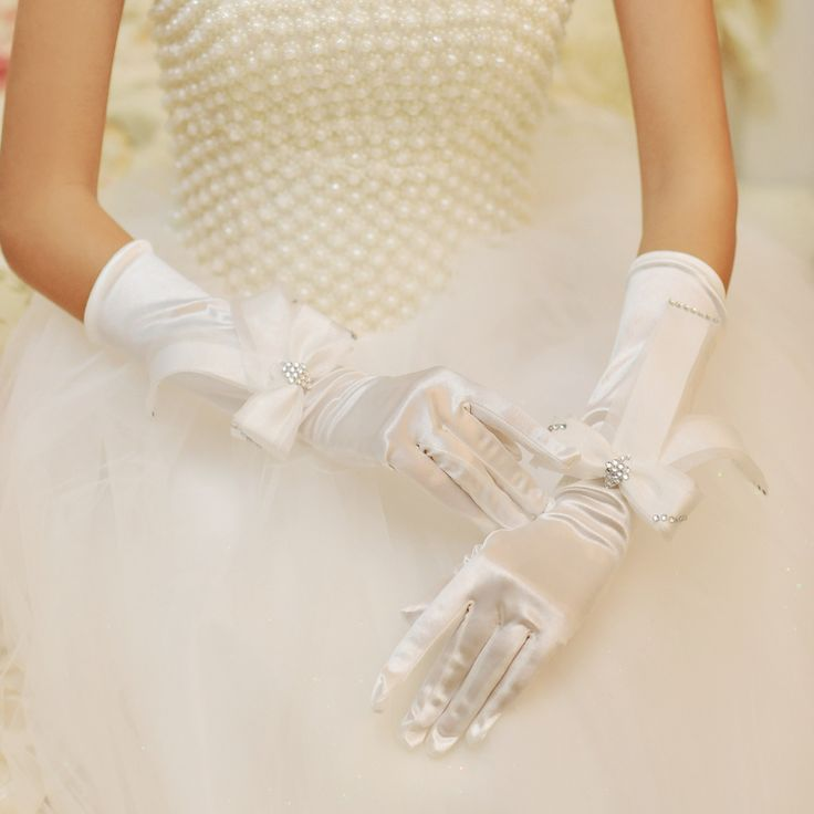 Lace bow bride married gloves