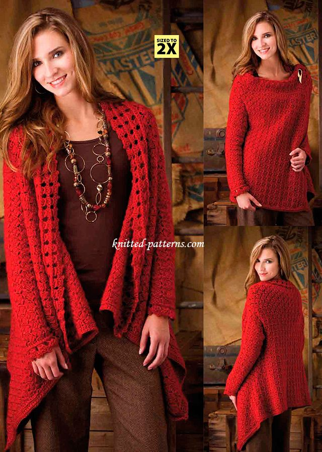 La Symphonie Jacket Wrap - free crochet pattern in sizes S - 2X from knitted-patterns.com.  Includes some Broomstick Lace.