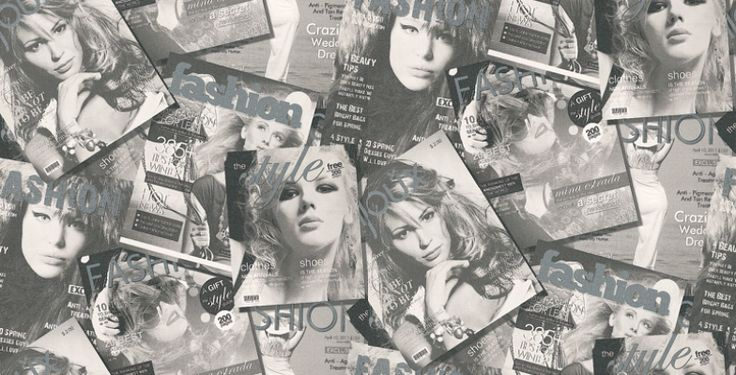Fashion Magazine (MW-50101) - Galerie Wallpapers - A teenage fashion style feature wallpaper with metallic silver detailing in the headlines. Shown here in black and white, a coloured version is also available. Please request a sample for true colour match.
