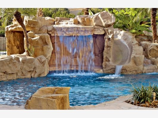 1000 ideas about rock waterfall on pinterest garden - Swimming pool designs with waterfalls ...