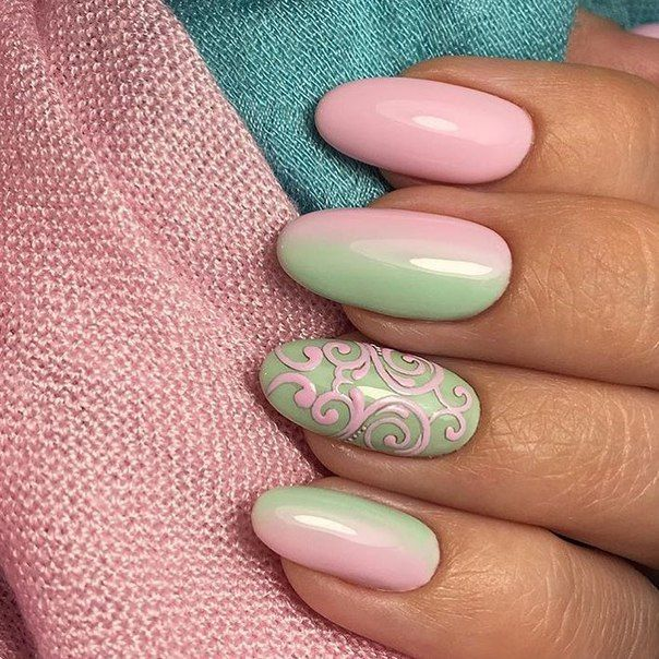 Beautiful summer nails, Exquisite nails, Manicure by summer dress, Nails under turquoise dress, Oval nails, Painted nails, Pink and lime…