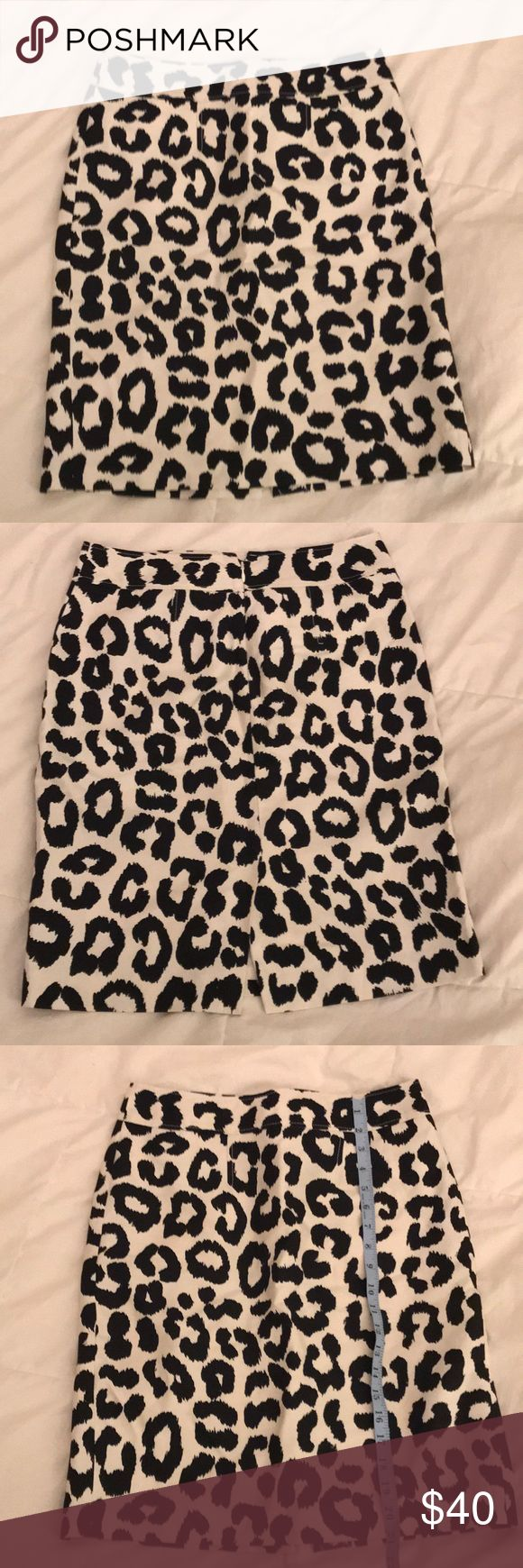 Leopard Print Loft Pencil Skirt This White and Black Leopard Print Pencil Skirt is so cute! Size 4.  21inch length. About a 6inch slit(pictured). Back zipper. 71%Cotton 29%Silk. Like New Condition. LOFT Skirts
