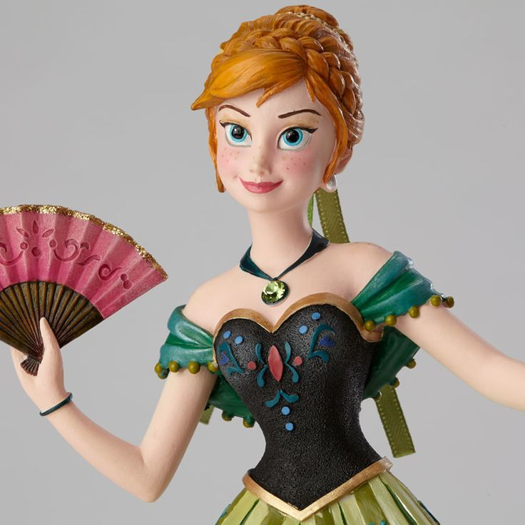 Name: Anna Introduction: September 2014 Item Number: 4045772 Material: Stone Resin Dimensions: 8 in H x 3.94 in W x 5.2 in L Anna from Arendelle makes her triumphant debut to Disney Couture de Force.
