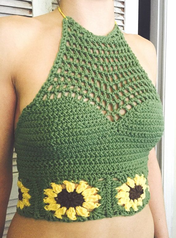 Sunflower Crochet Halter Top by xxciaraxx33 on Etsy