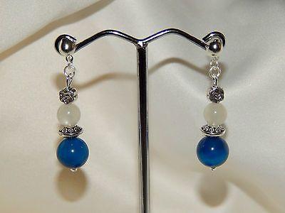 boucles d'oreilles pierre de lune naturelle agate teintée bleu €6