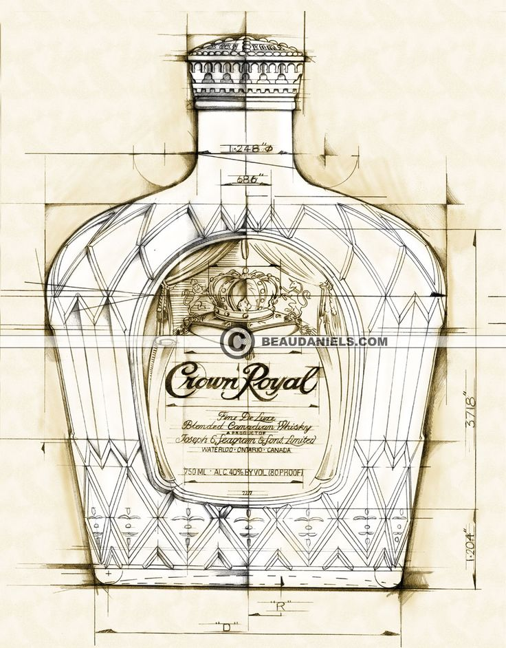 33 best blueprint style images on pinterest magazine illustration blueprint style bottle illustration for crown royal malvernweather Images