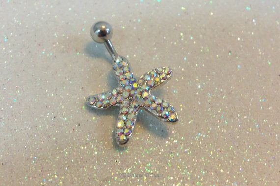 Bellybutton ring belly ring with starfish by CuteBellyRingsNBling, $11.95