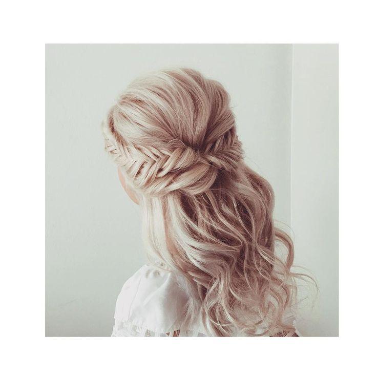 Brautfrisur halboffen für lange Haare – 30 Ideen