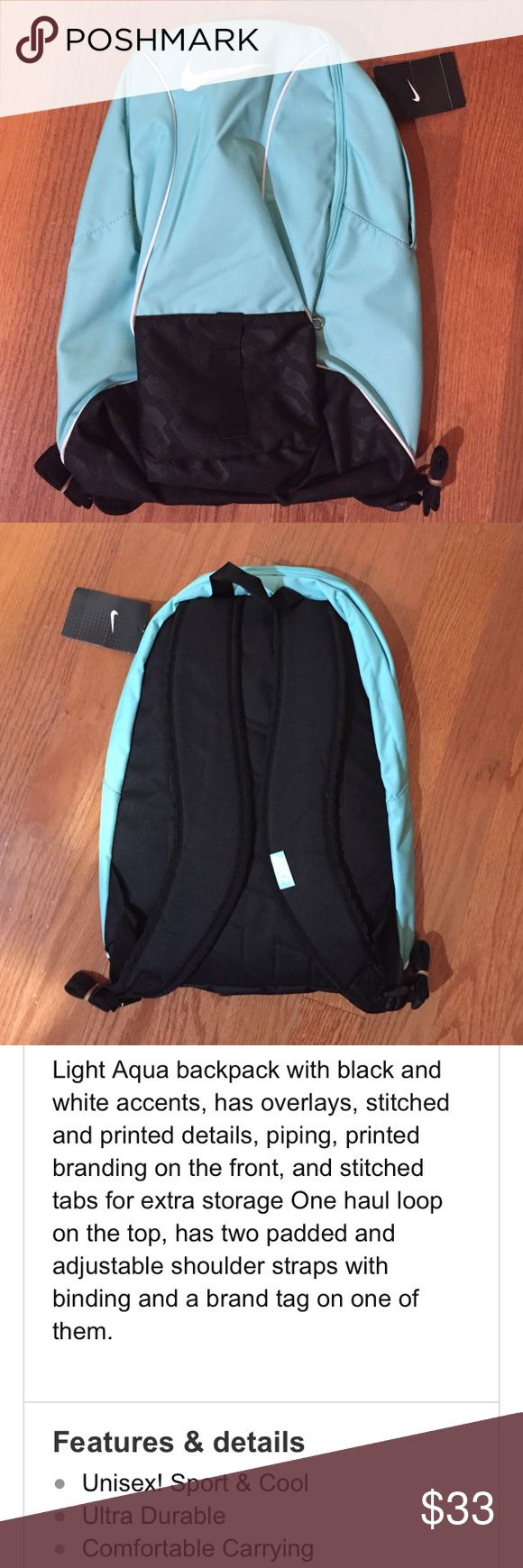 Nike Skyblue and Black backpack. NWT'S Nike Skyblue and Black backpack See. Third and fourth photo for more details. Nike Bags Backpacks