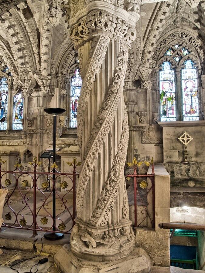Apprentice pillar at Roslyn Chapel http://www.nightingalesnotes.com/