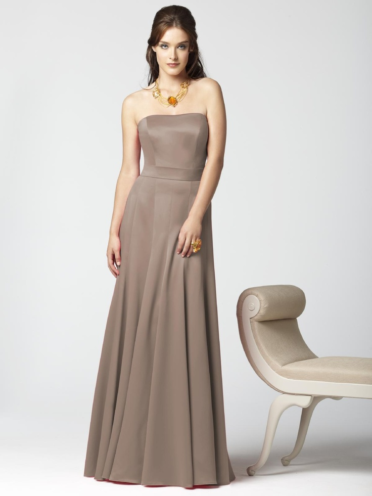 Fancy Dessy Collection Style brown bridesmaid dress