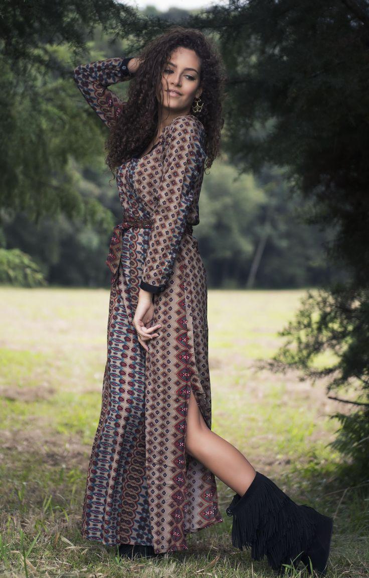 Vestido Kango Tunisia Shakti Detalhe Lateral #mundoshakti #tribes #moda #outonoinverno #estilo #boho #bohochic