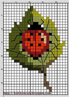 Lady Bug square beading stitch or cross stitch embroidery