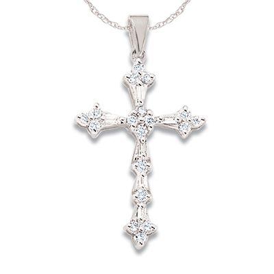 1/4 CT. T.W. Diamond Miracle Cross Pendant in 10K White Gold - Zales