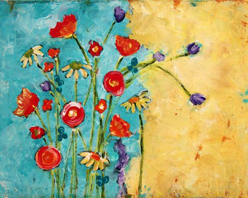 48 best painting images on pinterest canvases painting for Simple flower painting ideas