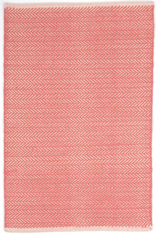 dash and albert herringbone coral woven cotton rug for sale