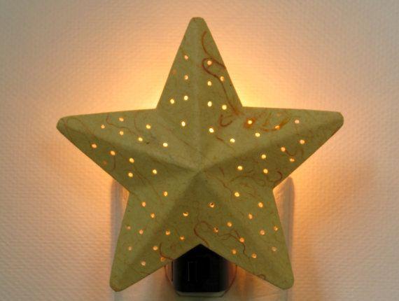 Yellow Night Light - Orange and Yellow Star Nursery Decor - Childrens Nightlights - Nursery Night Light Lighting - Decorative Night Lights