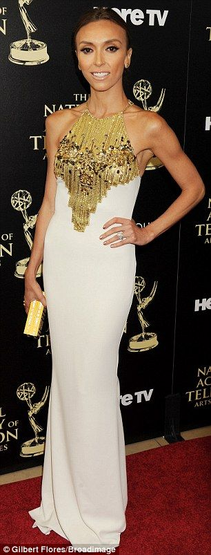 Giuliana Rancic in a dashing white and gold dress at the Daytime Emmy Awards http://dailym.ai/1q1sOHf