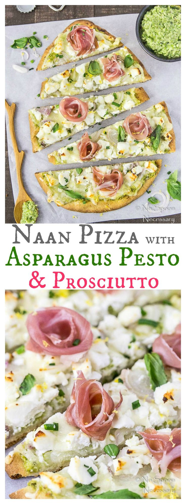 Naan Pizza with Asparagus Pesto, Prosciutto, Goat Cheese & Fontina