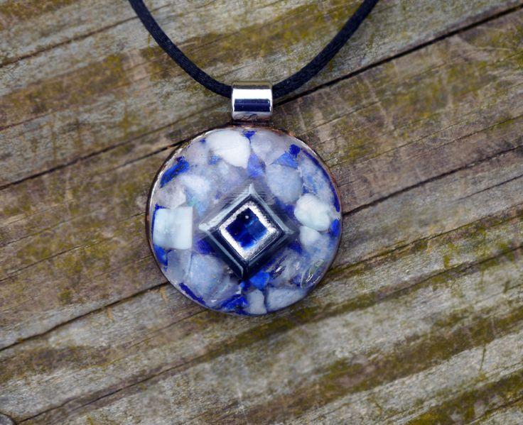 Orgone Energy Pendant -  FLOW - Sapphire, Larimar, Celestite, Sodalite, Azurite, Lapis Lazuli, Dumertierite, Hematite, Silver, Nuummite by 432oneness on Etsy