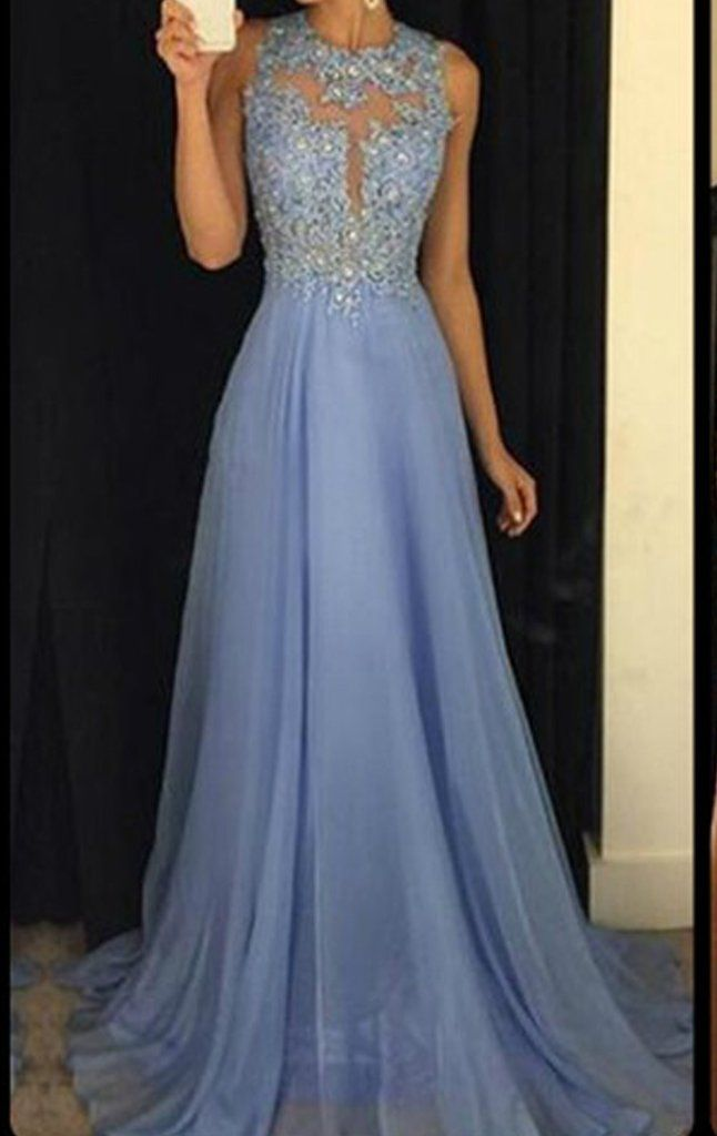MACloth Straps High Neck Lace Chiffon Long Prom Dress Sky Blue Formal Ball Gown